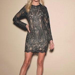 Lulu's lace and sequins bodycon long sleeve dress